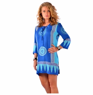 Abstract Tiki Tunic Cover-Up in Turquoise/Blues