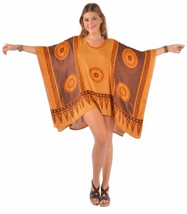 Abstract Tiki Tunic Poncho Cover-Up with V-Neck in Browns