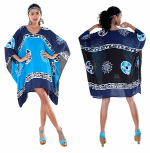 Abstract Tiki Tunic Poncho Cover-Up with V-Neck in Navy Blues/Turquoise