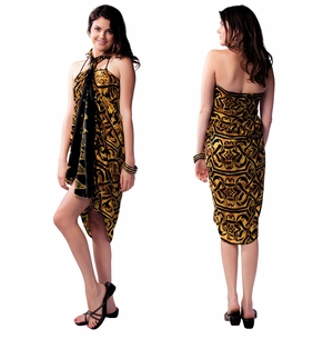 "Abstract Tribal Sarong ""Goldish Brown"""