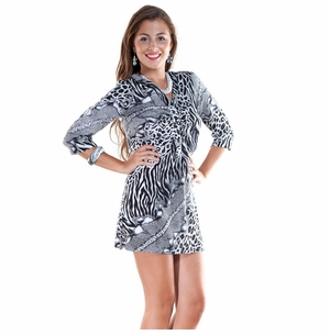 Animal Print Black / White Tunic Cover-Up with V-Neck