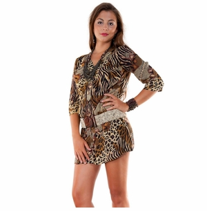 Animal Print Deep V-Neck Cover-Up Tunic Short Dress