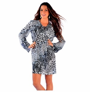 Animal Print Tunic Cover-Up in Black/White