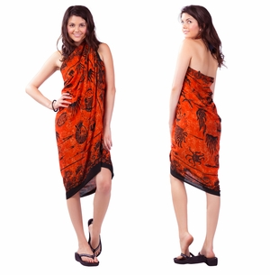 "Aquatic Life Sarong ""Orange"""
