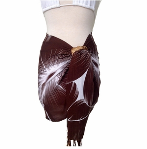 Big Hibiscus Floral Half Sarong/Mini Sarong in Brown