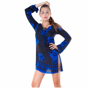 Black and Blue Hibiscus Floral Tunic Cover-Up
