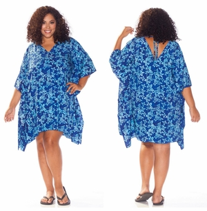 Blue Floral Poncho Cover Up with V-Neck