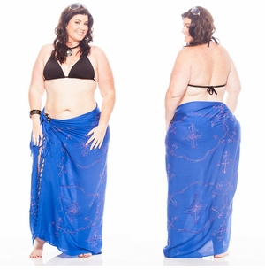 Blue Sarong w/ Multi-colored Embroidery