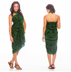 Celtic Circles Top Quality Sarong in Emerald Green