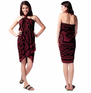 Celtic Circles Top Quality Sarong in Merlot FRINGED