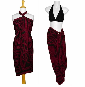 Celtic Circles Top Quality Sarong in Merlot FRINGELESS