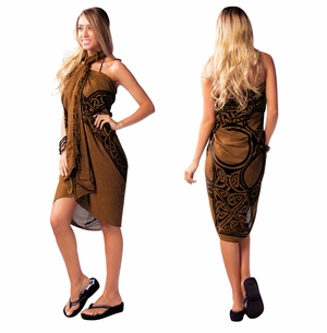 "Celtic Sarong, ""Celtic Cross 1"" Deep Brown"