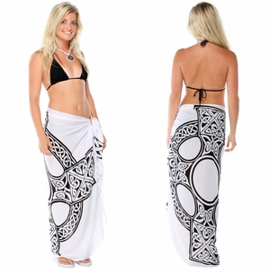 Celtic Sarong Celtic Cross 1 in White and Black