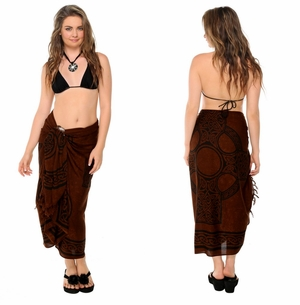 "Celtic Sarong, ""Celtic Cross 2"" Deep Brown"