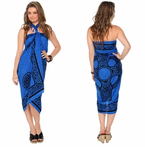 "Celtic Sarong, ""Celtic Cross 2"" Royal Blue"