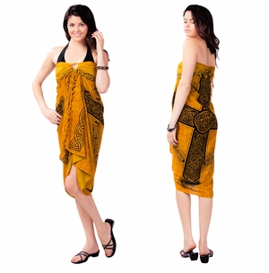 "Celtic Sarong, ""Celtic Cross 3"" Gold"