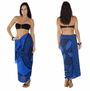 """Celtic Sarong, """"Celtic Cross and Circle"""" Blue"""