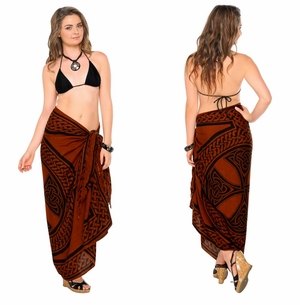 "Celtic Sarong, ""Celtic Cross and Circle"" Brown"