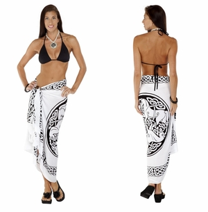 "Celtic Sarong, ""Horses"" Black / White"