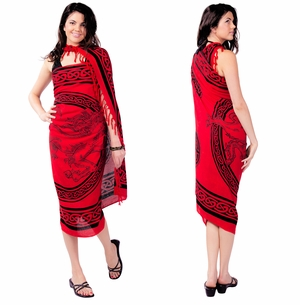 "Celtic Sarong, ""Unicorn"" Rose Red"