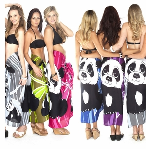 Cute Panda Sarong in Olive Green