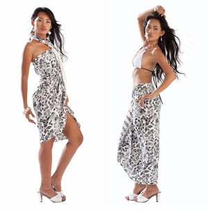 Dahlia Floral Sarong in Black and White