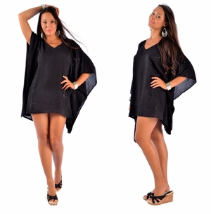 Embroidered Tunic Poncho Cover-Up in Black