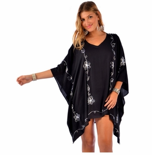 Embroidered Tunic Poncho Cover-Up in Black and Grey