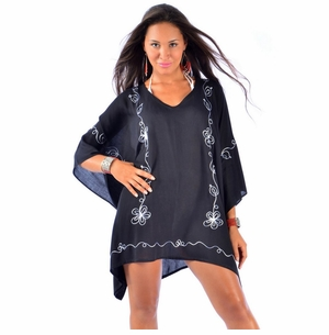 Embroidered Tunic Poncho Cover-Up in Black and White