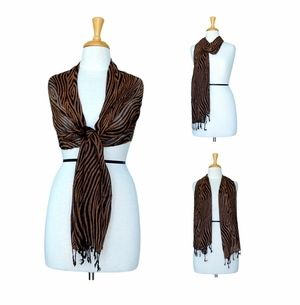 Feline Gauze Scarf in Brown and Black
