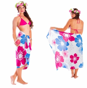 Floral Fringeless Sarong in Blue