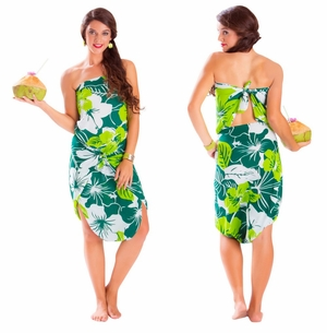 Floral Fringeless Sarong in Green