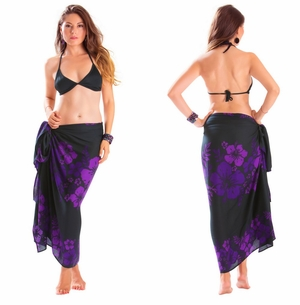 Floral Fringeless Sarong in Purple