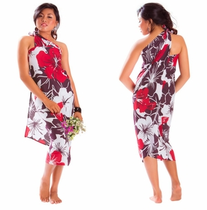 Floral Fringeless Sarong in Red