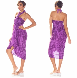 Floral Sarong In Purple/Black