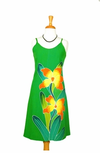 GREEN SUNDRESS WITH HAND PAINTED ORCHID DESIGN