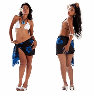 "Half Sarong/Mini Sarong Hibiscus ""Royal Blue / Black"""