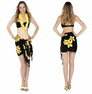 "Half Sarong/Mini Sarong Plumeria ""Yellow / Black"""