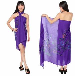 Hand Painted Sarong Floral Purple Passion
