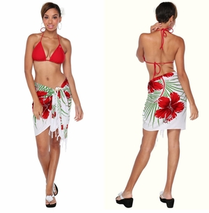 Hawaiian Half Sarong in Green/Red/White