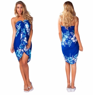 Hibiscus Floral Sarong in Blue, Turq & White