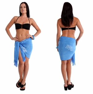 "Hibiscus Flower HALF Sarong ""Light Blue"""