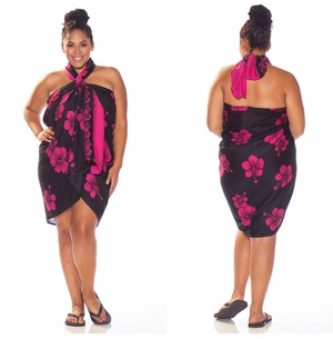 Hibiscus PLUS SIZE Sarong in Black W/ Pink