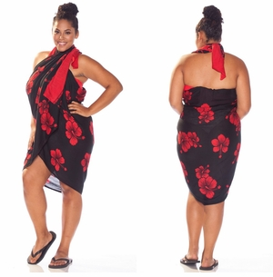 Hibiscus PLUS SIZE Sarong in Red / Black