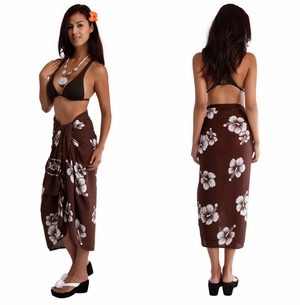 Hibiscus Sarong in Brown/White