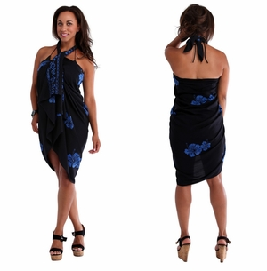Hibiscus Top Quality Sarong in Black / Blue PLUS SIZE