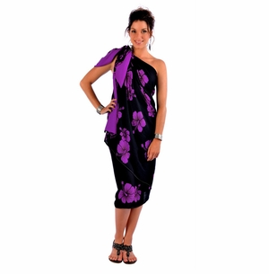 Hibiscus Top Quality Sarong in Black / Purple PLUS SIZE