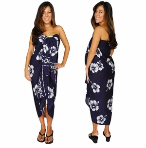 Hibiscus Top Quality Sarong in Navy Blue PLUS SIZE