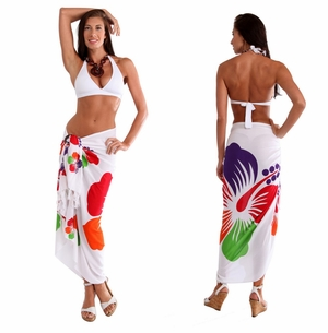 Hibisucs Flower Sarong in Red