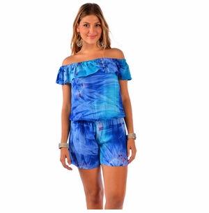 Ladies Off The Shoulder Cover-Up Jumper in Blue Tie Dye